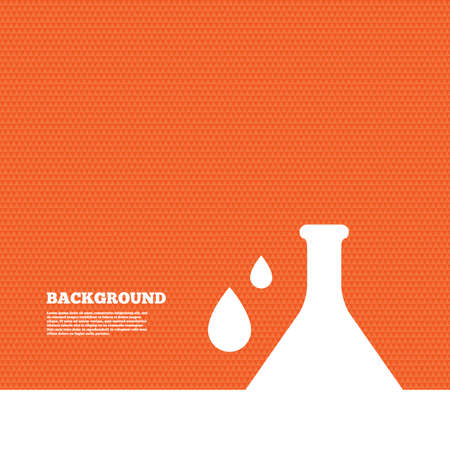 orange texture: Background with seamless pattern. Chemistry sign icon. Bulb symbol with drops. Lab icon. Triangles orange texture. Vector Illustration