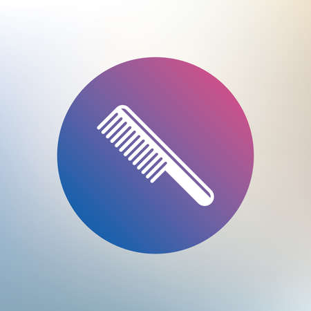 comb hair: Comb hair sign icon. Barber symbol. Icon on blurred background. Vector