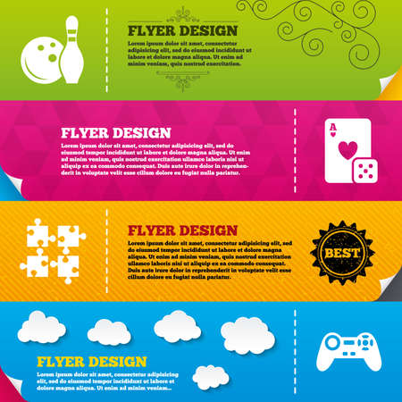 playing video game: Flyer brochure designs. Bowling and Casino icons. Video game joystick and playing card with puzzles pieces symbols. Entertainment signs. Frame design templates. Vector