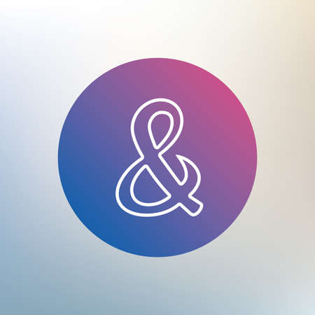 ligature: Ampersand sign icon. Programming logical operator AND. Wedding invitation symbol. Icon on blurred background. Vector Illustration