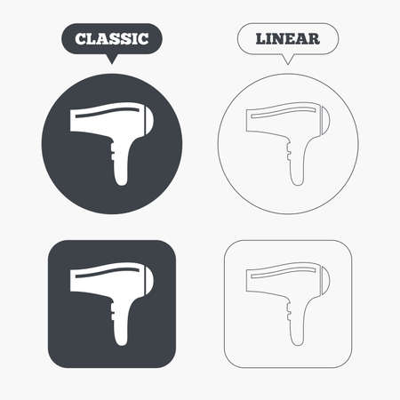 hairdryer: Hairdryer sign icon. Hair drying symbol. Classic and line web buttons. Circles and squares. Vector