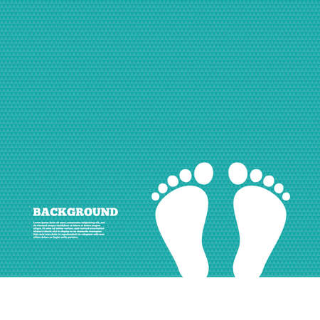 green footprint: Background with seamless pattern. Child pair of footprint sign icon. Toddler barefoot symbol. Triangles green texture. Vector Illustration