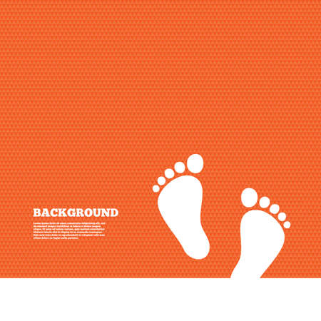 Background with seamless pattern. Child pair of footprint sign icon. Toddler barefoot symbol. Baby's first steps. Triangles orange texture. Vector