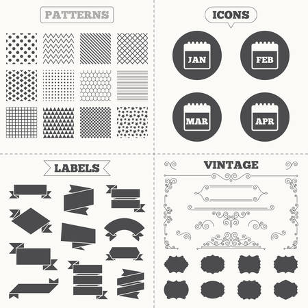 Seamless patterns. Sale tags labels. Calendar icons. January, February, March and April month symbols. Date or event reminder sign. Vintage decoration. Vector Illustration
