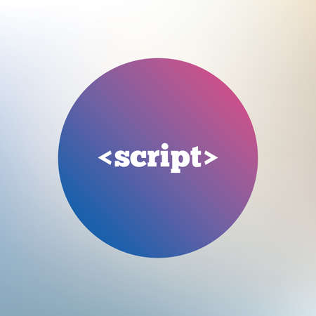 javascript: Script sign icon. Javascript code symbol. Icon on blurred background. Vector Illustration