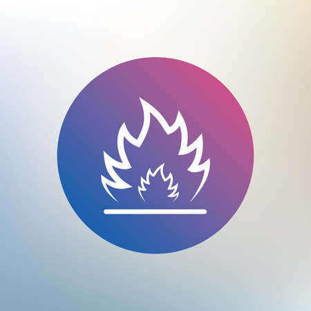 escape: Fire flame sign icon. Heat symbol. Stop fire. Escape from fire. Icon on blurred background. Vector