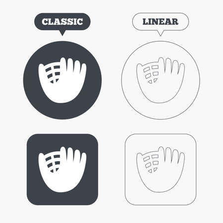 mitt: Baseball glove or mitt sign icon. Sport symbol. Classic and line web buttons. Circles and squares. Vector