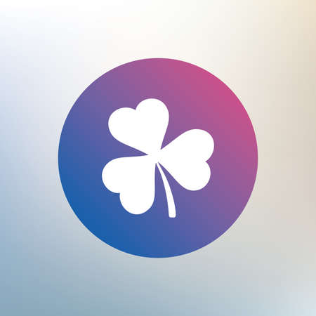 trefoil: Clover with three leaves sign icon. Trifoliate clover. Saint Patrick trefoil symbol. Icon on blurred background. Vector Illustration