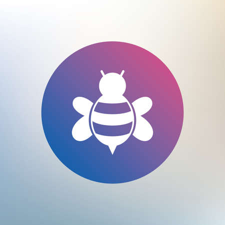 apis: Bee sign icon. Honeybee or apis with wings symbol. Flying insect. Icon on blurred background. Vector