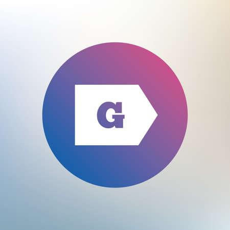 consumo energia: Classe di efficienza energetica G sign icon. Energia simbolo consumi. Icona su sfondo sfocato. Vettore