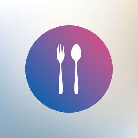 teaspoon: Eat sign icon. Cutlery symbol. Dessert fork and teaspoon. Icon on blurred background. Vector Illustration