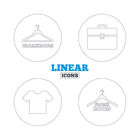 cloakroom: Cloakroom icons. Hanger wardrobe signs. T-shirt clothes and baggage symbols. Linear outline web icons. Vector