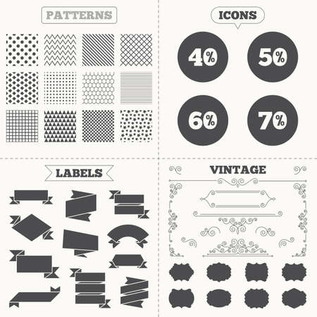 40 50: Seamless patterns. Sale tags labels. Sale discount icons. Special offer price signs. 40, 50, 60 and 70 percent off reduction symbols. Vintage decoration. Vector