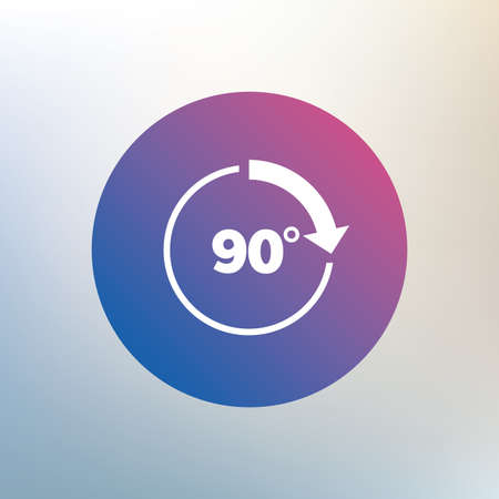 Angle 90 degrees sign icon. Geometry math symbol. Right angle. Icon on blurred background. Vector