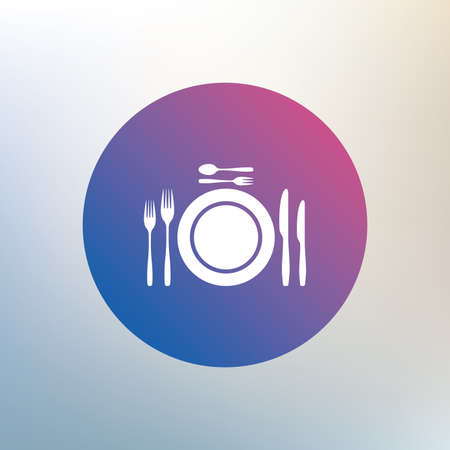 etiquette: Plate dish with forks and knifes. Dessert trident fork with teaspoon. Eat sign icon. Cutlery etiquette rules symbol. Icon on blurred background. Vector