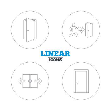 emergency exit icon: Automatic door icon. Emergency exit with human figure and arrow symbols. Fire exit signs. Linear outline web icons. Vector