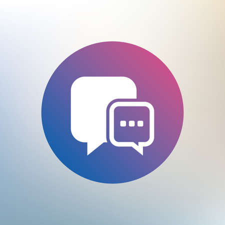 three dots: Chat sign icon. Speech bubble with three dots symbol. Communication chat bubble. Icon on blurred background. Vector