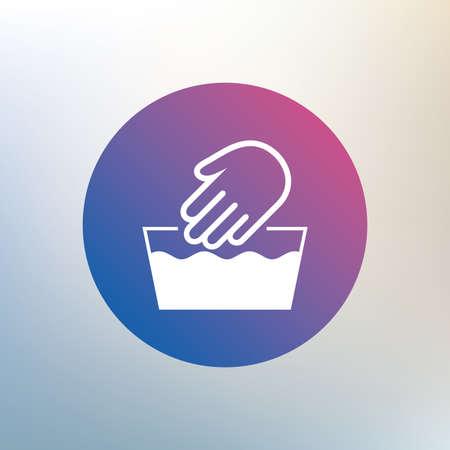 washable: Hand wash sign icon. Not machine washable symbol. Icon on blurred background. Vector Illustration