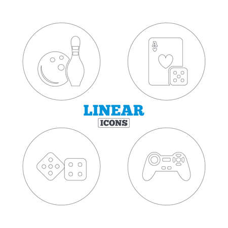 playing video game: Bowling and Casino icons. Video game joystick and playing card with dice symbols. Entertainment signs. Linear outline web icons. Vector