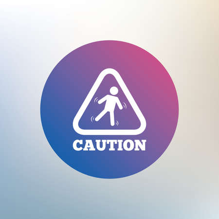 wet floor caution sign: Caution wet floor sign icon. Human falling triangle symbol. Icon on blurred background. Vector
