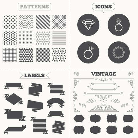 fiance: Seamless patterns. Sale tags labels. Rings icons. Jewelry with shine diamond signs. Wedding or engagement symbols. Vintage decoration. Vector Illustration
