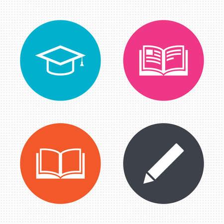 원 버튼. 연필과 책 아이콘. 졸업 모자 기호. 고등 교육은 표지판을 배웁니다. 원활한 사각형 질감. 벡터 일러스트