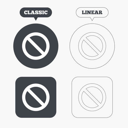 blacklist: Blacklist sign icon. User not allowed symbol. Classic and line web buttons. Circles and squares. Vector
