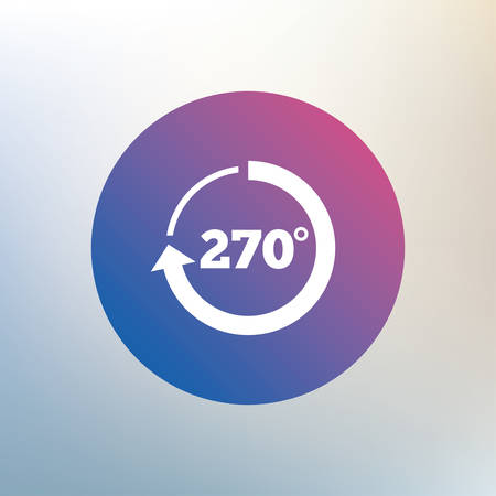 math icon: Angle 270 degrees sign icon. Geometry math symbol. Icon on blurred background. Vector
