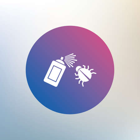 sprayer: Bug disinfection sign icon. Fumigation symbol. Bug sprayer. Icon on blurred background. Vector