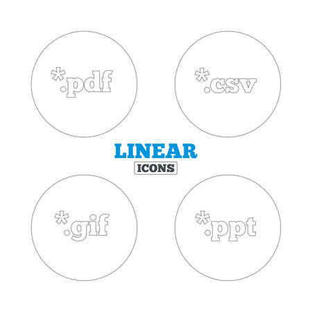 Document icons. File extensions symbols. PDF, GIF, CSV and PPT presentation signs. Linear outline web icons. Vector