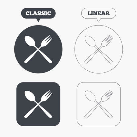 crosswise: Eat sign icon. Cutlery symbol. Dessert fork and teaspoon crosswise. Classic and line web buttons. Circles and squares. Vector