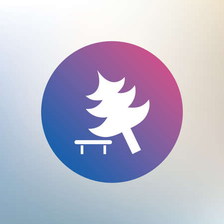 break down: Falling tree sign icon. Caution break down christmas tree symbol. Icon on blurred background. Vector Illustration