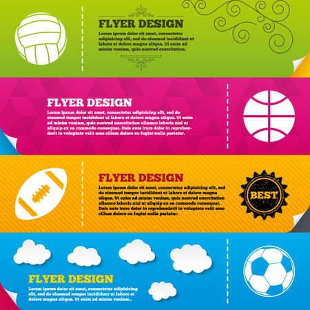 pelota de voleibol: Dise�os de folleto Folleto. Bolas del deporte iconos. Voleibol, Baloncesto, F�tbol y los signos de f�tbol americano. Juegos de deporte de equipo. Marco de plantillas de dise�o. Vector