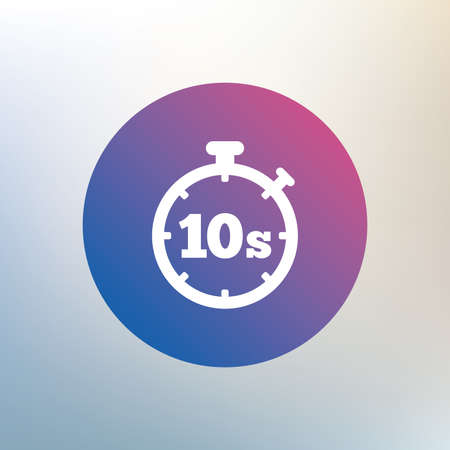 seconds: Timer 10 seconds sign icon. Stopwatch symbol. Icon on blurred background. Vector