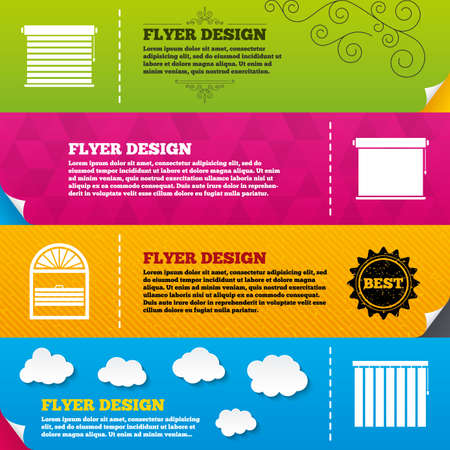 jalousie: Flyer brochure designs. Louvers icons. Plisse, rolls, vertical and horizontal. Window blinds or jalousie symbols. Frame design templates. Vector