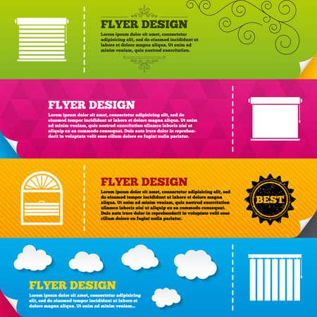 Flyer brochure designs. Louvers icons. Plisse, rolls, vertical and horizontal. Window blinds or jalousie symbols. Frame design templates. Vector