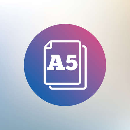 a5: Paper size A5 standard icon. File document symbol. Icon on blurred background. Vector