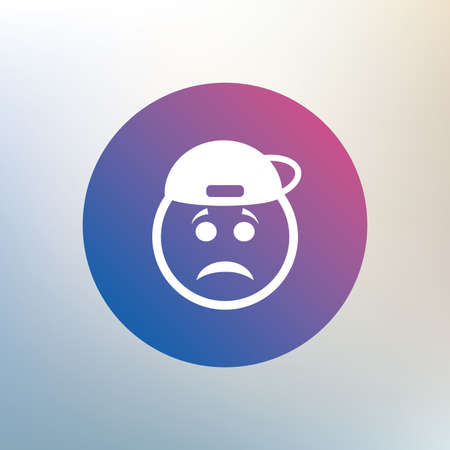 rapper: Sad rapper face sign icon. Sadness depression chat symbol. Icon on blurred background. Vector Illustration