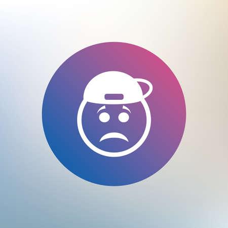 rapero: Triste signo icono cara rapero. Tristeza s�mbolo de la depresi�n de chat. Icono en el fondo borroso. Vector