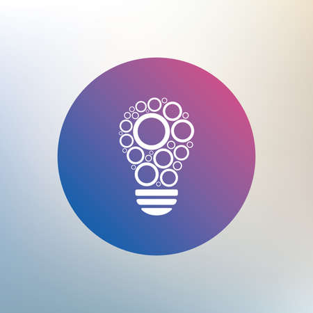 idea symbol: Light lamp sign icon. Bulb with circles symbol. Idea symbol. Icon on blurred background. Vector