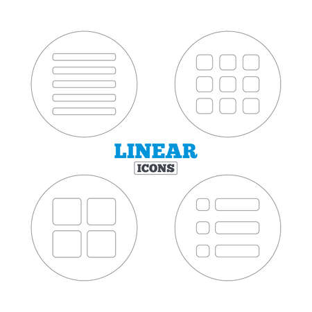 thumbnails: List menu icons. Content view options symbols. Thumbnails grid or Gallery view. Linear outline web icons. Vector