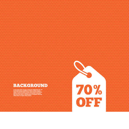 price label: Background with seamless pattern. 70% sale price tag sign icon. Discount symbol. Special offer label. Triangles orange texture. Vector Illustration