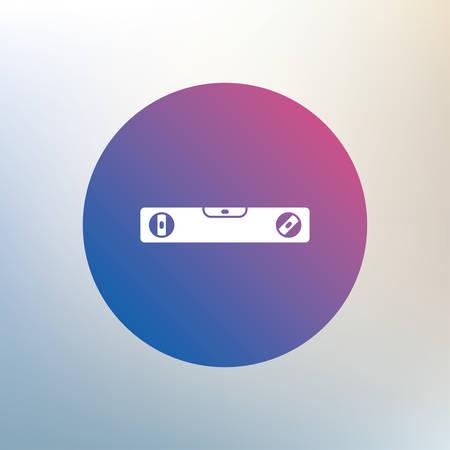 spirit level: Bubble level sign icon. Spirit tool symbol. Icon on blurred background. Vector