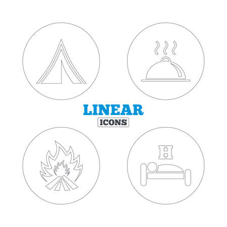 breakfast in bed: Hot food, sleep, camping tent and fire icons. Hotel or bed and breakfast. Road signs. Linear outline web icons. Vector Illustration