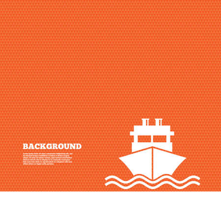 orange texture: Background with seamless pattern. Ship or boat sign icon. Shipping delivery symbol. With chimneys or pipes. Triangles orange texture. Vector
