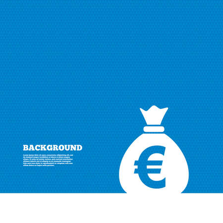 eur: Background with seamless pattern. Money bag sign icon. Euro EUR currency symbol. Triangles texture. Vector Illustration