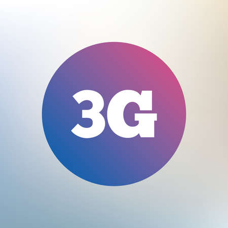 3g: 3G sign icon. Mobile telecommunications technology symbol. Icon on blurred background. Vector Illustration