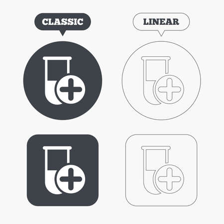 laboratory equipment: Medical test tube sign icon. Add new test with plus. Laboratory equipment symbol. Classic and line web buttons. Circles and squares. Vector