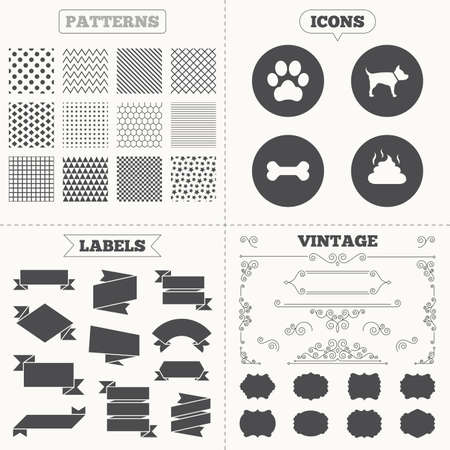 feces: Seamless patterns. Sale tags labels. Pets icons. Dog paw and feces signs. Clean up after pets. Pets food. Vintage decoration. Vector