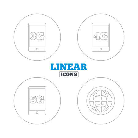 three generations: Mobile telecommunications icons. 3G, 4G and 5G technology symbols. World globe sign. Linear outline web icons. Vector